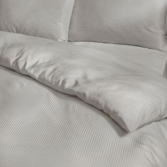 Satin Stripe 300 Thread Count Premium Duvet Cover Set - Grey