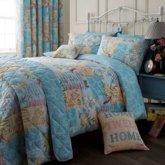 Blue Vintage Postcard Duvet Cover Set