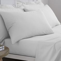 Pair of 100% Cotton Housewife Pillowcases - White