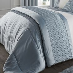 Quilted Luxury Satin Bedspread - Duck Egg