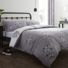 Floral Bouquet Grey Duvet Cover Set
