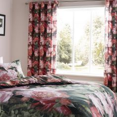 Dramatic Floral Ring Top Curtains