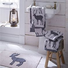 Stag Grey 100% Cotton Bath Mat