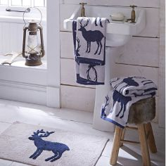 Stag Navy 100% Cotton Bath Mat