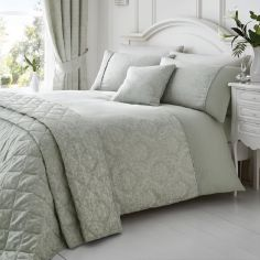 Laurent Jacquard Cotton Rich Duvet Cover Set - Silver Grey