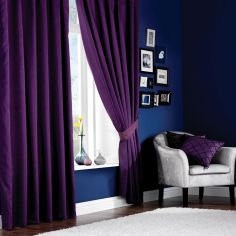 Plain CL Faux Silk Lined  Ring Top Curtains - Aubergine