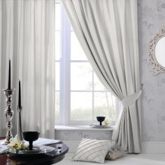 Plain CL Faux Silk Ring Top Lined Curtains - Silver Grey