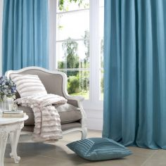 Plain CL Faux Silk Ring Top Lined Curtains - Jade