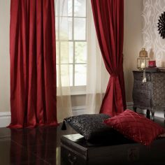 Plain CL Faux Silk Ring Top Lined Curtains - Ruby Red