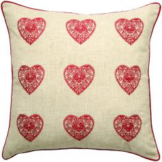 Vintage Hearts Cushion Cover - Red & Natural