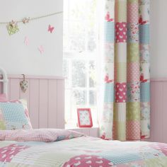 Canterbury Patchwork Pink Kids Ring Top Curtains