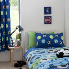 Football Kids Tape Top Curtains - Blue