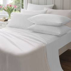 145gsm Plain Dyed Flannelette Fitted Sheet - White