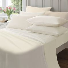Pair of 145gsm Plain Dyed Flannelette Pillowcases - Cream