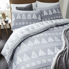 Nordic Trees Duvet Cover Set - Grey