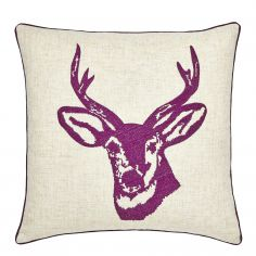 Stags Head Cushion Cover - Mulberry Purple