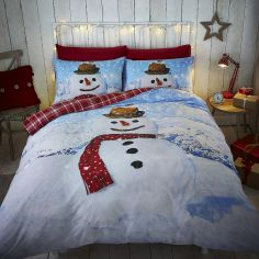 Happy Snowman Reversible Duvet Cover Set