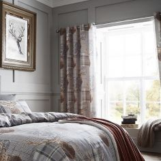 Heritage Stag Grey Ring Top Curtains