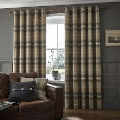 Brushed Heritage Check Fully Lined Eyelet Curtains - Grey