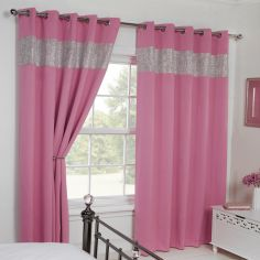 Carla Diamante Blackout Ring Top Curtains - Pink