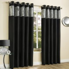 Amalfi Crushed Velvet Fully Lined Ring Top Curtains - Black