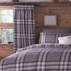 Kelso Tartan Lined Tape Top Curtains - Charcoal Grey