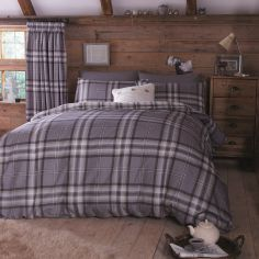 Kelso Tartan Reversible Duvet Cover Set - Charcoal Grey