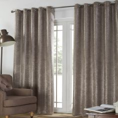Ferne Textured Blackout Eyelet Curtains - Taupe