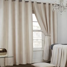 Colorado Waffle Chenille Effect Lined Eyelet Curtains - Natural
