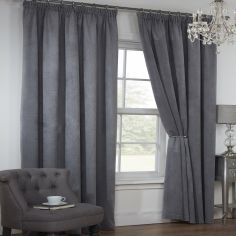 Colorado Waffle Chenille Effect Lined Tape Top Curtains - Silver Grey