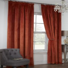 Colorado Waffle Chenille Effect Lined Tape Top Curtains - Terracotta