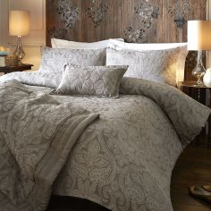 Luxury Woven Jacquard Quilted Bedspread - Stone