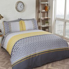 Barbican Duvet Cover Set - Grey & Yellow