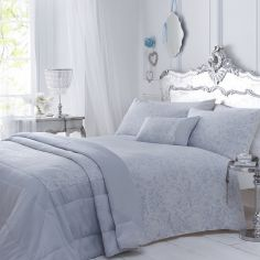 Luxury Woven Jacquard Quilted Bedspread - Sky Blue