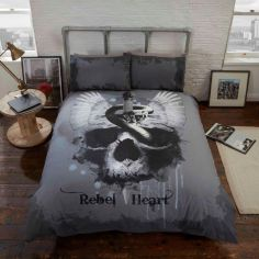 Rebel Heart Skull Duvet Cover Set - Grey