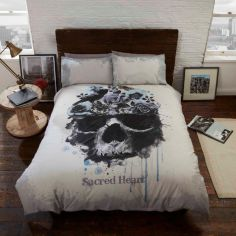 Sacred Heart Skull Duvet Cover Set - Cream