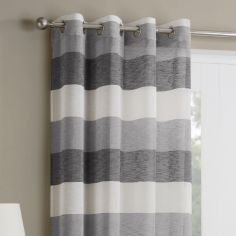 Mykonos Striped Ring Top Top Voile Curtain Panel - Grey