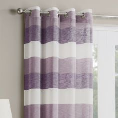 Mykonos Striped Ring Top Top Voile Curtain Panel - Heather