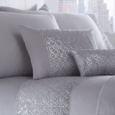 Shimmer Sequin Filled Boudoir Cushion - Silver Grey