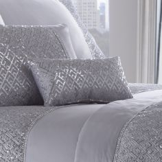 Shimmer Sequin Filled Petite Cushion - Silver Grey