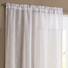 Denver Slot Top Voile Curtain Panel - White