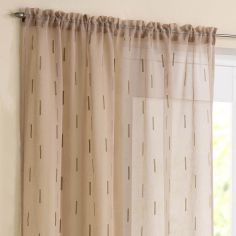 Denver Slot Top Voile Curtain Panel - Latte
