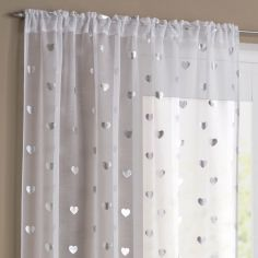 Silver Hearts Slot Top Voile Curtain Panel - White