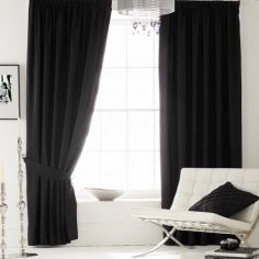 Plain CL Faux Silk Ring Top Lined Curtains - Black