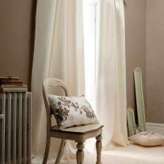 Plain CL Faux Silk Ring Top Lined Curtains - Cream