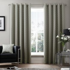 Islington Geometric Luxury Fully Lined Eyelet Curtains - Silver Grey