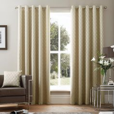 Islington Geometric Luxury Fully Lined Eyelet Curtains - Cream