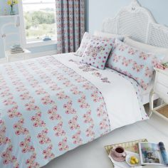 Embroidered Butterfly Duvet Cover Set - Duck Egg Blue & Pink