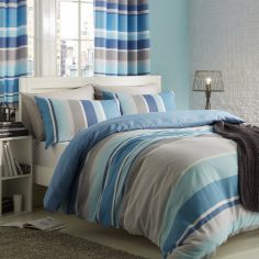 Textured Stripe Duvet Cover Set - Teal Blue