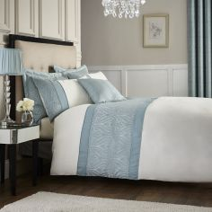 Luxury Ornate Jacquard Duvet Cover Set - Duck Egg Blue